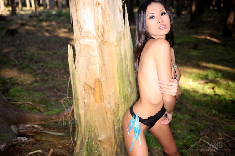 Сексуальная азиатская женщина Davon Kim с торчащими сосочками в лесу