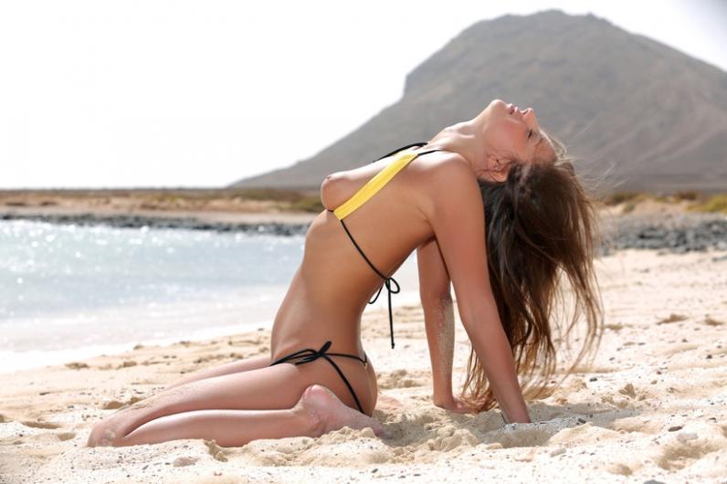 Гламурная миниатюрная срака сексапильной брюнетки на песке