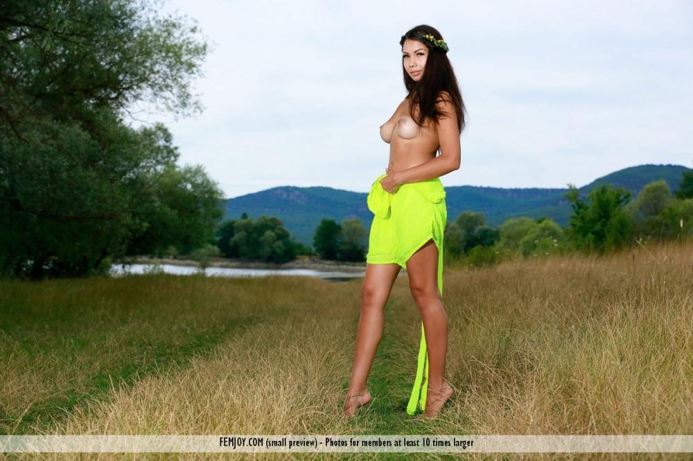 Экзотическая мулатка в поле на траве показывает прелести свежего тела смотреть эротику