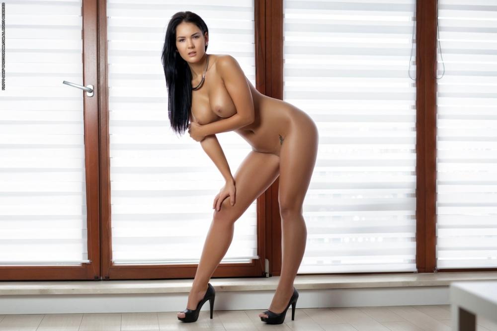 Стриптиз симпатичной брюнеточки с эротичными голыми сиськами
