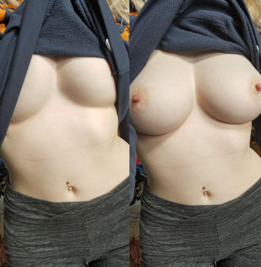 Домашние груди с близкого расстояния. Анальная пробка под юбкой